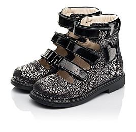 Детские ортопедические туфли (с высоким берцем) Woopy Orthopedic черные для девочек натуральный нубук размер 29-39 (8102) Фото 4