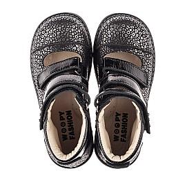 Детские ортопедические туфли (с высоким берцем) Woopy Orthopedic черные для девочек натуральный нубук размер 29-39 (8102) Фото 6
