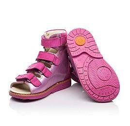 Детские ортопедические босоножки (с высоким берцем) Woopy Orthopedic розовые для девочек натуральная кожа и нубук размер 18-33 (8104) Фото 2