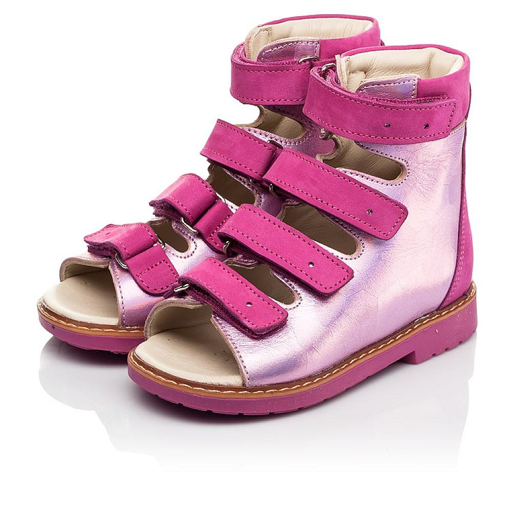 Детские ортопедические босоножки (с высоким берцем) Woopy Orthopedic розовые для девочек натуральная кожа и нубук размер 18-33 (8104) Фото 3
