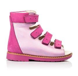 Детские ортопедические босоножки (с высоким берцем) Woopy Orthopedic розовые для девочек натуральная кожа и нубук размер 18-33 (8104) Фото 4