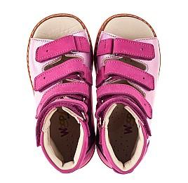 Детские ортопедические босоножки (с высоким берцем) Woopy Orthopedic розовые для девочек натуральная кожа и нубук размер 18-33 (8104) Фото 5