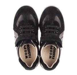 Детские кеды Woopy Fashion черные для мальчиков натуральная кожа, замша размер 20-30 (8108) Фото 5