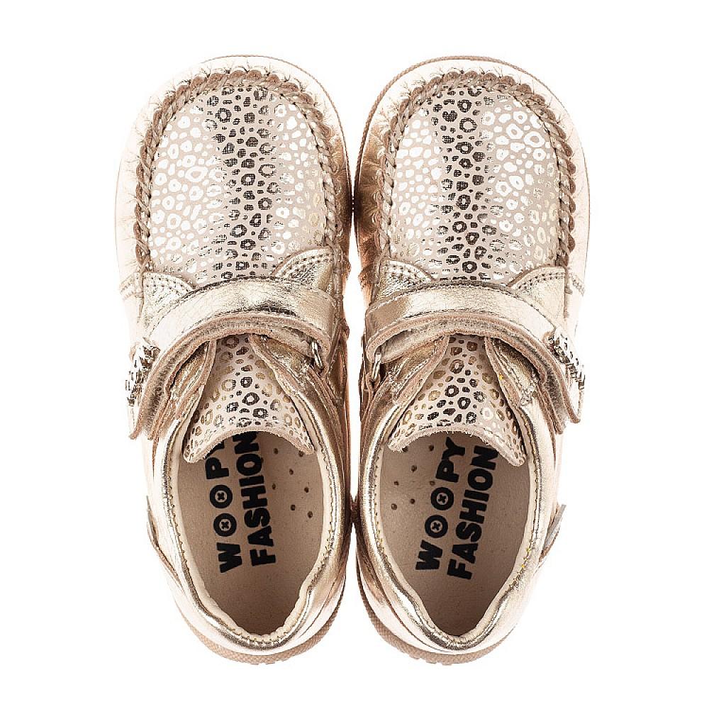 Детские мокасины Woopy Fashion золотые для девочек натуральная кожа и нубук размер 23-30 (8110) Фото 5