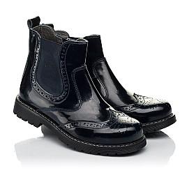 Детские демисезонные ботинки Woopy Orthopedic темно-синие для девочек натуральная лаковая кожа размер 25-40 (8116) Фото 1