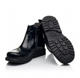 Детские демисезонные ботинки Woopy Orthopedic темно-синие для девочек натуральная лаковая кожа размер 25-40 (8116) Фото 2