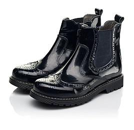 Детские демисезонные ботинки Woopy Orthopedic темно-синие для девочек натуральная лаковая кожа размер 25-40 (8116) Фото 3