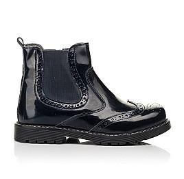 Детские демисезонные ботинки Woopy Orthopedic темно-синие для девочек натуральная лаковая кожа размер 25-40 (8116) Фото 4