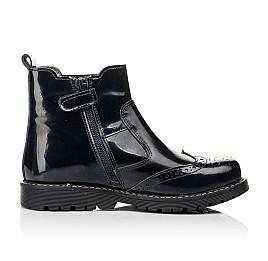 Детские демисезонные ботинки Woopy Orthopedic темно-синие для девочек натуральная лаковая кожа размер 25-40 (8116) Фото 5