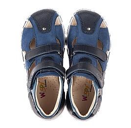 Детские закрытые босоножки Woopy Fashion синие для мальчиков натуральные кожа и нубук размер 26-36 (8117) Фото 5