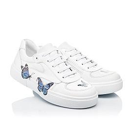 Детские кеды (боковая молния) Woopy Fashion белые для девочек натуральная кожа размер 23-39 (8119) Фото 1