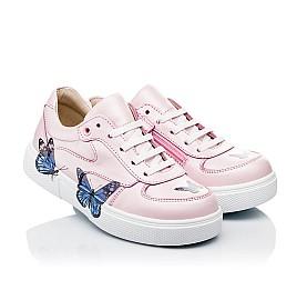 Детские кеды (боковая молния) Woopy Fashion розовые для девочек натуральная кожа размер 21-35 (8120) Фото 1
