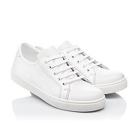 Детские кеды (боковая молния) Woopy Fashion белые для девочек натуральная кожа размер 33-40 (8130) Фото 1