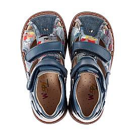 Детские закрытые босоножки Woopy Orthopedic синие для мальчиков натуральный нубук и кожа размер 18-30 (8134) Фото 5