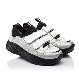 Детские кроссовки Woopy Fashion серебряные для девочек натуральная кожа, искусственный материал  размер 30-40 (8135) Фото 1