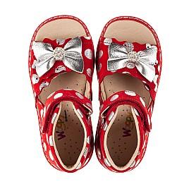 Детские босоножки Woopy Orthopedic красные для девочек натуральный нубук размер 20-30 (8137) Фото 3