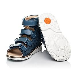 Детские ортопедические босоножки (с высоким берцем) Woopy Orthopedic синие для мальчиков натуральный нубук и кожа размер 20-30 (8142) Фото 2