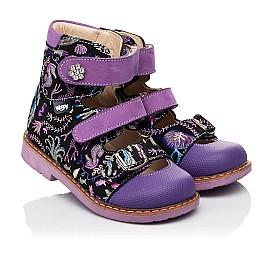 Детские ортопедические туфли (с высоким берцем) Woopy Orthopedic фиолетовые для девочек натуральный нубук размер 19-30 (8143) Фото 1