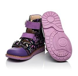 Детские ортопедические туфли (с высоким берцем) Woopy Orthopedic фиолетовые для девочек натуральный нубук размер 19-30 (8143) Фото 2