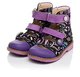 Детские ортопедические туфли (с высоким берцем) Woopy Orthopedic фиолетовые для девочек натуральный нубук размер 19-30 (8143) Фото 3