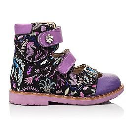 Детские ортопедические туфли (с высоким берцем) Woopy Orthopedic фиолетовые для девочек натуральный нубук размер 19-30 (8143) Фото 4