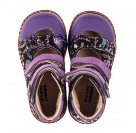 Детские ортопедические туфли (с высоким берцем) Woopy Orthopedic фиолетовые для девочек натуральный нубук размер 19-30 (8143) Фото 5