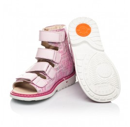 Детские ортопедические босоножки (с высоким берцем) Woopy Orthopedic розовые для девочек натуральные кожа и нубук размер 20-36 (8149) Фото 2