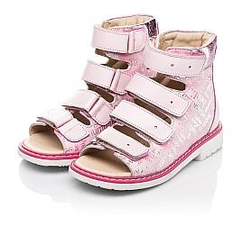 Детские ортопедические босоножки (с высоким берцем) Woopy Orthopedic розовые для девочек натуральные кожа и нубук размер 20-36 (8149) Фото 3