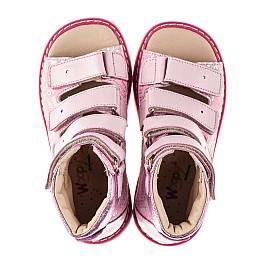 Детские ортопедические босоножки (с высоким берцем) Woopy Orthopedic розовые для девочек натуральные кожа и нубук размер 20-36 (8149) Фото 5