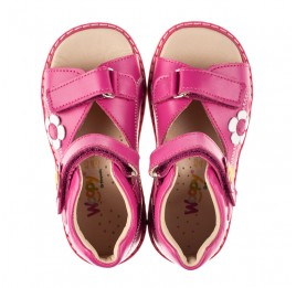 Детские босоножки Woopy Orthopedic малиновые для девочек натуральная кожа размер 18-30 (8151) Фото 5