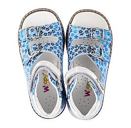 Детские босоножки Woopy Orthopedic голубые для девочек натуральный нубук размер 20-33 (8154) Фото 5