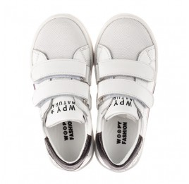 Детские кеды Woopy Fashion белые для мальчиков натуральная кожа размер 20-30 (8162) Фото 6