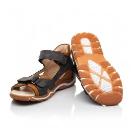 Детские босоножки Woopy Fashion коричневые для мальчиков натуральный нубук размер 21-37 (8164) Фото 2
