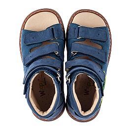 Детские ортопедические босоножки (с высоким берцем) Woopy Orthopedic синие для мальчиков натуральный нубук размер 20-30 (8172) Фото 5