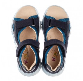 Детские босоножки Woopy Fashion синие для мальчиков натуральный нубук и искусственный материал размер 21-40 (8176) Фото 5