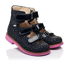 Детские ортопедические туфли (с высоким берцем) Woopy Orthopedic синие для девочек натуральная замша, лаковая кожа размер 24-36 (8180) Фото 1
