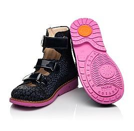 Детские ортопедические туфли (с высоким берцем) Woopy Orthopedic синие для девочек натуральная замша, лаковая кожа размер 24-36 (8180) Фото 2