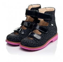 Детские ортопедические туфли (с высоким берцем) Woopy Orthopedic синие для девочек натуральная замша, лаковая кожа размер 24-36 (8180) Фото 3