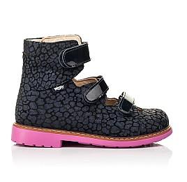 Детские ортопедические туфли (с высоким берцем) Woopy Orthopedic синие для девочек натуральная замша, лаковая кожа размер 24-36 (8180) Фото 4