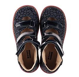 Детские ортопедические туфли (с высоким берцем) Woopy Orthopedic синие для девочек натуральная замша, лаковая кожа размер 24-36 (8180) Фото 5