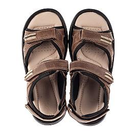 Детские босоножки Woopy Fashion коричневые для мальчиков натуральная кожа размер 31-40 (8196) Фото 5