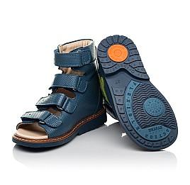 Детские ортопедические босоножки (с высоким берцем) Woopy Orthopedic синие для мальчиков натуральная кожа размер 20-31 (8199) Фото 2
