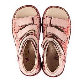 Детские босоножки Woopy Orthopedic розовые для девочек натуральный нубук и кожа размер 22-34 (8204) Фото 5