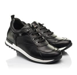 Детские кроссовки (шнурок-резинка) Woopy Fashion черные для девочек натуральная кожа размер 31-39 (8230) Фото 1