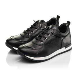 Детские кроссовки (шнурок-резинка) Woopy Fashion черные для девочек натуральная кожа размер 31-39 (8230) Фото 3