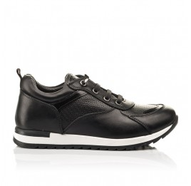 Детские кроссовки (шнурок-резинка) Woopy Fashion черные для девочек натуральная кожа размер 31-39 (8230) Фото 4