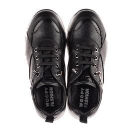 Детские кроссовки (шнурок-резинка) Woopy Fashion черные для девочек натуральная кожа размер 31-39 (8230) Фото 5