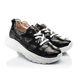 Детские кроссовки (шнурок-резинка) Woopy Fashion черные для девочек натуральная лаковая кожа и замша размер 33-40 (8234) Фото 1