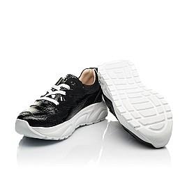 Детские кроссовки (шнурок-резинка) Woopy Fashion черные для девочек натуральная лаковая кожа и замша размер 33-40 (8234) Фото 2