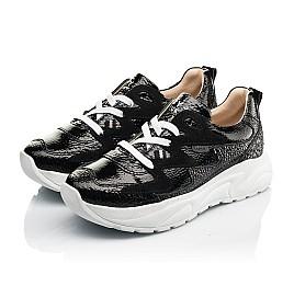 Детские кроссовки (шнурок-резинка) Woopy Fashion черные для девочек натуральная лаковая кожа и замша размер 33-40 (8234) Фото 3